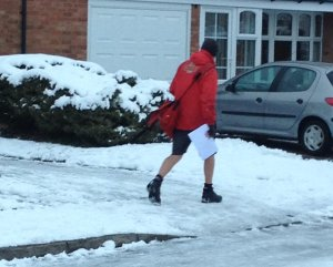 Postman in shorts Img_6931