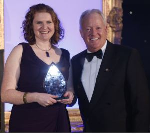 Susannah presenting an award at the Great West Midlands Awards 2012 with the host for the evening Keith Chegwin