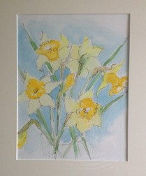 Daffodils painted by Lindsay. Mum loved going to Lindsay's art classes. I remember how Betty, my Mum-in-law, loved a painted Easter card she received.