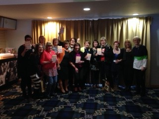 Conference Organiser Jo Carnac Midwife (back row yellow cardigan) With Sheena Byrom, Carmel  McCalmont and other delegates